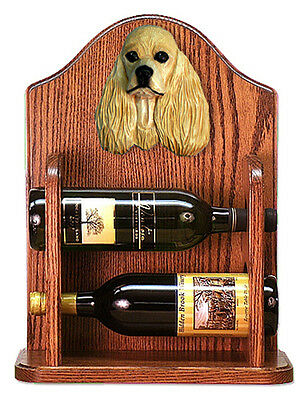 Cocker Spaniel Dog Wood Wine Rack Bottle Holder Figure Buff - 2 Bottles - Dark