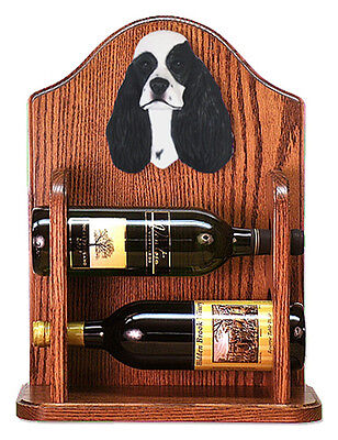 Cocker Spaniel Dog Wood Wine Rack Bottle Holder Figure Blk Parti - 2 Bottles ...
