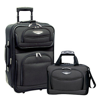 "Travel Select Gray Amsterdam 2pc Carry-on 21"" Rolling Luggage Suitcase Tote Set"