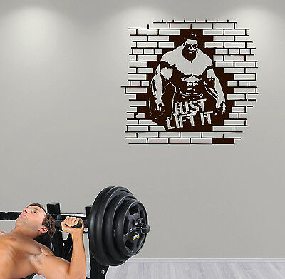 JUST LIFT IT Gym Bodybuilding Weightlifting Crossfit Workout Wall Art Decal cool