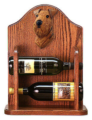 Airedale Dog Wood Wine Rack Bottle Holder Figure - Dark - 2 Bottles