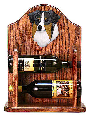 Australian Shepherd Dog Wood Wine Rack Bottle Holder Figure Blu - 2 Bottles -...