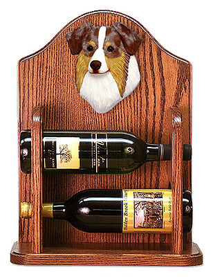 Australian Shepherd Dog Wood Wine Rack Bottle Holder Figure Red - 2 Bottles -...