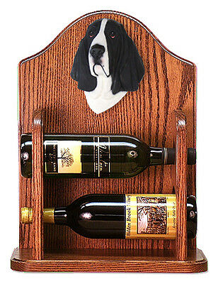 Basset Hound Dog Wood Wine Rack Bottle Holder Figure Blk/Wht - 2 Bottles - Dark