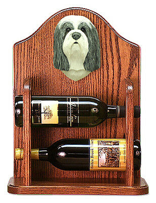 Bearded Collie Dog Wood Wine Rack Bottle Holder Figure Blu/Wht - 2 Bottles - ...
