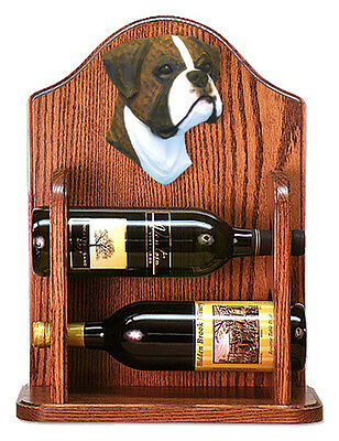 Boxer natural Dog Wood Wine Rack Bottle Holder Figure Brin - 2 Bottles - Dark