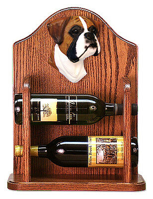 Boxer natural Dog Wood Wine Rack Bottle Holder Figure Fawn - 2 Bottles - Dark