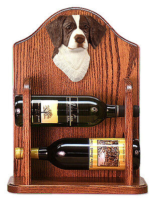 Brittany Dog Wood Wine Rack Bottle Holder Figure Liver