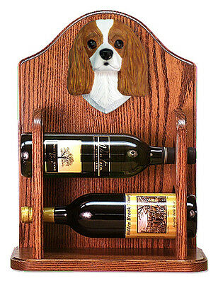 Cavalier Charles Dog Wood Wine Rack Bottle Holder Figure Blen - 2 Bottles - Dark