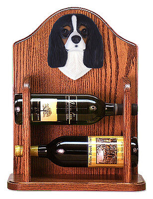 Cavalier Charles Dog Wood Wine Rack Bottle Holder Figure Tri - 2 Bottles - Dark