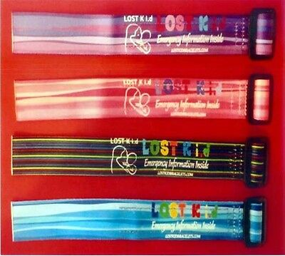 Lost Kid Identity Id & Medical Safety Id Bracelets 4 Colors, Boys & Girls