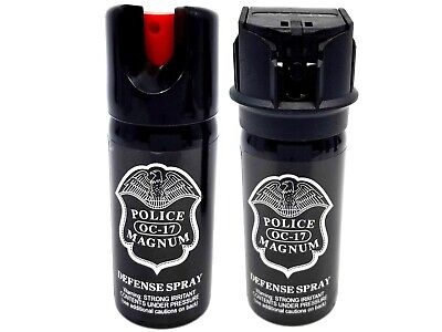 Police Magnum 2oz pepper spray 1 Flip Top 1 Safety Lock Stream Defense Security