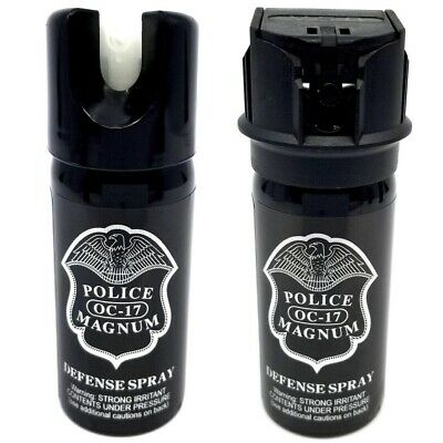 Police Magnum 2oz pepper spray 1 Flip Top 1 GID Safety Lock Defense Security