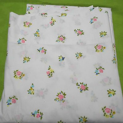 Twin Single Flat Sheet Shabby Mid Century Vintage White with Flowers Monticello