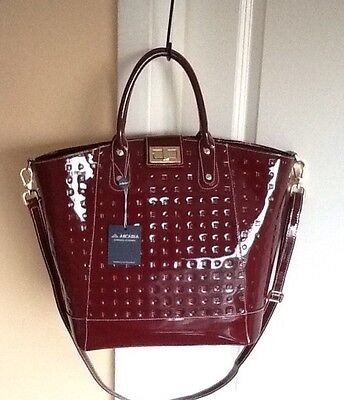 NWT ARCADIA RED LEATHER MADE IN ITALY BAG TOTE CROSSBODY 2077