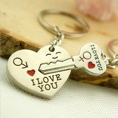 Delicate Sweet Couple Valentines Day Love Gift Smile Heart Key Keychain Keyring