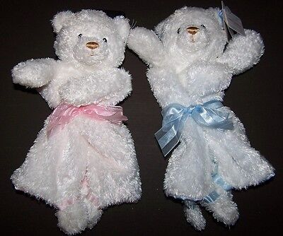 NWT GUND BABY White Plush BEAR Security BLANKIE BLANKET Pink or Blue Satin Back