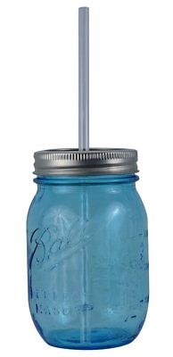 16oz Authentic Heritage Blue Ball Mason Jar Reusable Acrylic Straw - Redneck Sip
