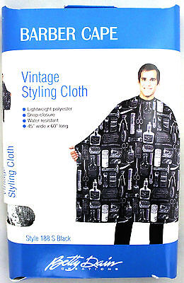 Betty Dain Vintage Style Men's Barber Styling Cape Cloth (Black Or White)