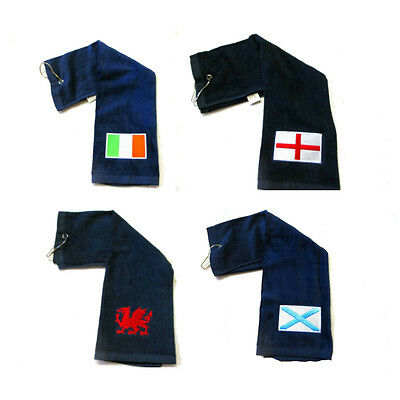 Touch Golf Tri Fold Towel With UK National Flag Emblem-With Carabiner - New.