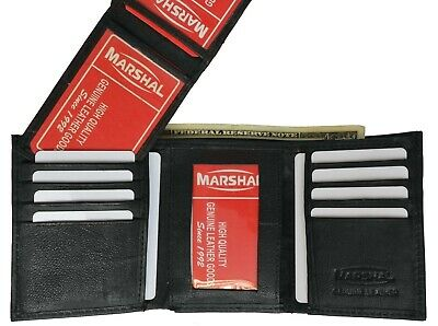 new mens trifold soft leather wallet multi pockets card 3 id windows