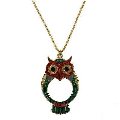 OWL Pendant Magnifier Magnifying Glass Necklace ST