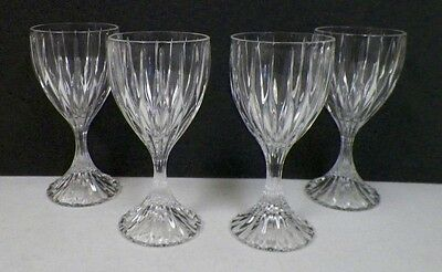 "Mikasa Park Lane Crystal Wine Glasses Goblets Set Of Four (4) 6 1/4"" Tall Euc"
