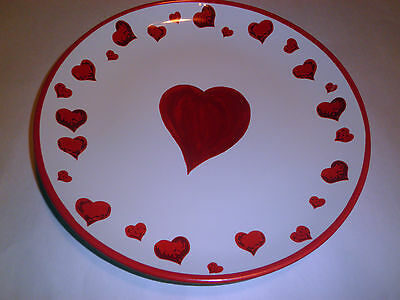 Valentines Day Decorative Hearts Dinner Plate Red Large 11.25""
