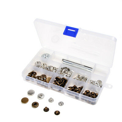 inBox 30 Sets 10/12.5/15/17mm Press Studs Kit Tool Snap Fasteners Sewing Buttons