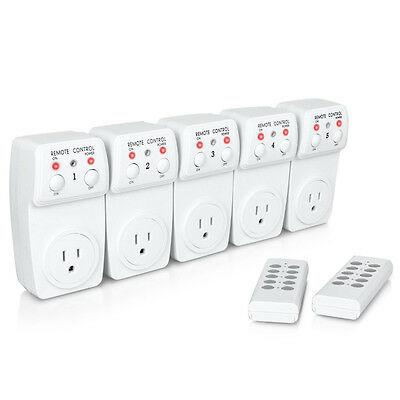 5 Pack Wireless Remote Control Power Outlet Plug Light Switch Socket 2 Remotes