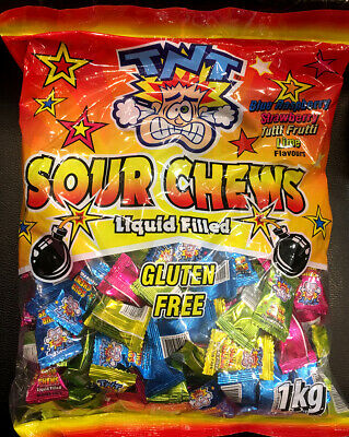 TNT Super Sour Filled Chewy Candy 1kg bag bulk for Lolly Buffet or Party