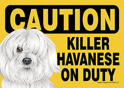 Killer Havanese On Duty Dog Sign Magnet Hook & Loop Fastener 5x7
