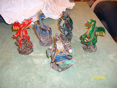 Set of 5 Figurines - 4 Dragon Figurines & 1 of a Wizard on a Dragon