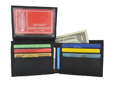Bifold Wallet Men's Genuine Leather Black Credit/ID Card Holder Slim Purse Gift