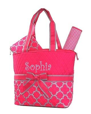 Personalized Geometric Diaper Bag 3 Piece Set Hot Pink and Gray FREE Monogram