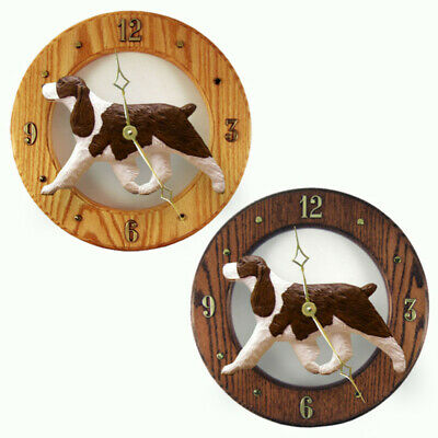 English Springer Spaniel Wood Wall Clock Plaque Liver