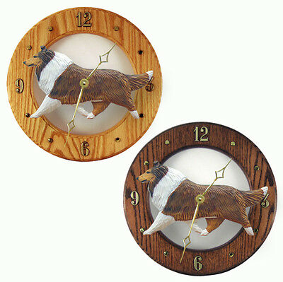 Collie Wood Wall Clock Plaque Sable
