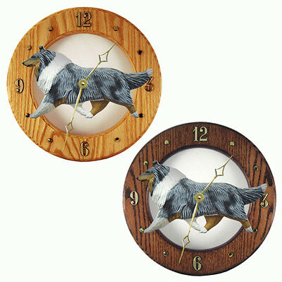 Collie Wood Wall Clock Plaque Blue