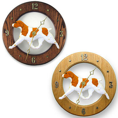 Brittany Spaniel Dog Wood Wall Clock Plaque Orange