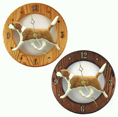 Beagle Wood Wall Clock Plaque Red/Wht
