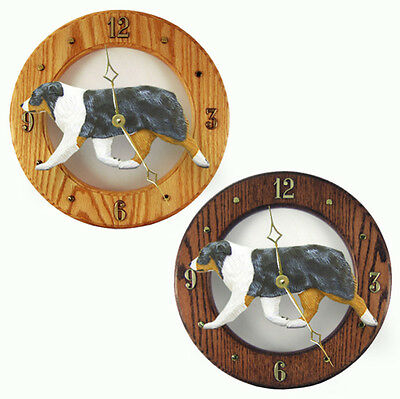 Australian Shepherd Wood Wall Clock Plaque Blue