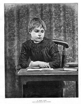 Victorian Child at School : A Hard Task - Antique Print 1886