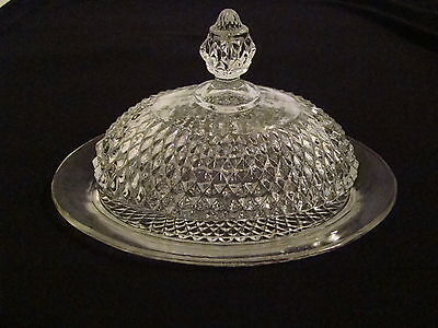 BEAUTIFUL VINTAGE DIAMOND POINT COVERED BUTTER DISH