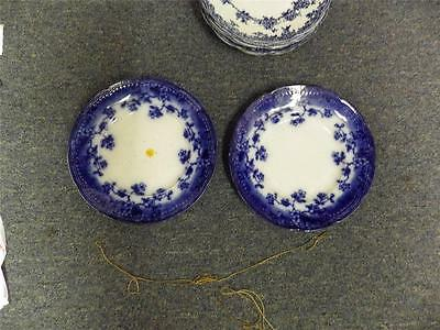 """2 """"Brunswick"""" Flow Blue/Blue And White Wood & Sons 9"""" Plates Circa 1891"""
