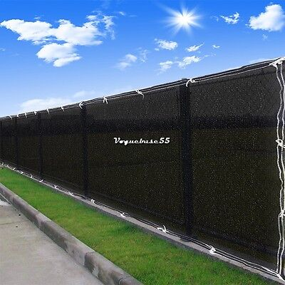 Green Black Fence Privacy Screen Cover Mesh Windscreen Fabric Slat Shade Cloth V