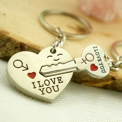 """1 Pairs  Unique"""" I Love You """" Heart+Arrow + Key Couple Keyring for Romantic Gift"""