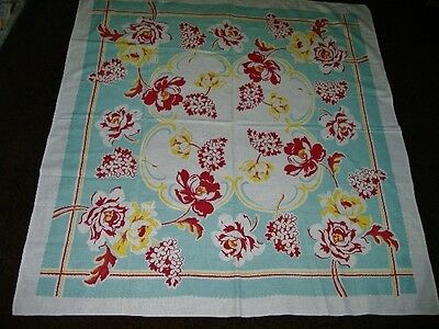 STUNNING VINTAGE FLORALS TABLECLOTH ROBIN EGG BLUES,YELLOW,REDS WOW