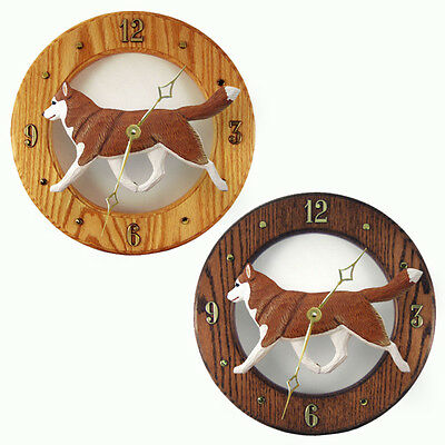 Siberian Husky Wood Wall Clock Plaque Red/Wht