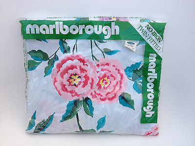 VTG Mint Floral Marlborough Twin Fitted Sheet Deadstock Sealed New in Package
