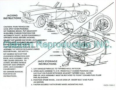 Mustang Jacking Instructions Decal 1966 - Osborn Reproductions